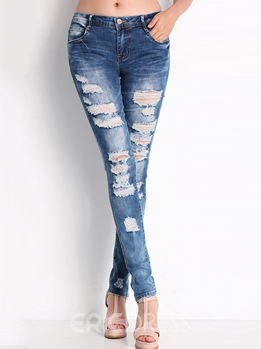 Ericdress Solid Color Ripped Jeans