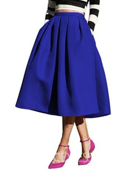 Ericdress A-Line Mid-Calf Plain Women's Skirt