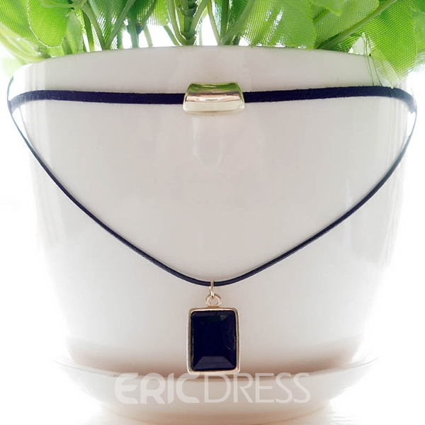 Ericdress Black Square Pendant Necklace