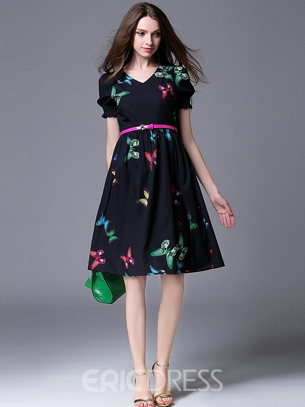 Ericdress Butterfly Print V-Neck Short Sleeve Casual Dress