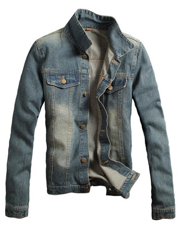 Ericdress Lapel Slim Casual Men's Denim Jacket