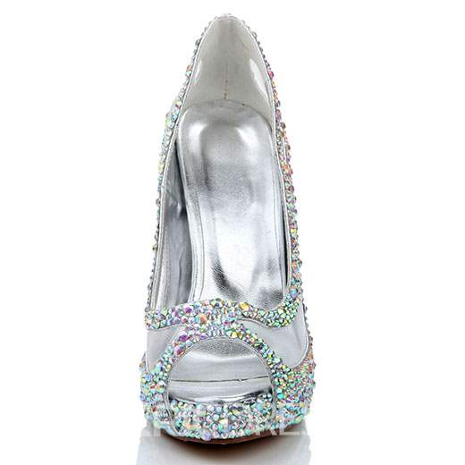 Ericdress Rhinestone Peep Toe Slip-On Stiletto Heel Wedding Shoes