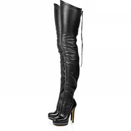 Fashion Black Leather Stiletto Heels Knee High Boots