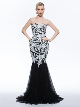 Ericdress Mermaid Sweetheart Appliques Sweep Train Evening Dress