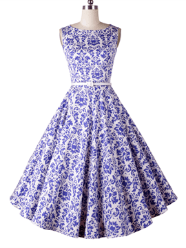 Ericdress Print Vintage Sleeveless A Line Dress