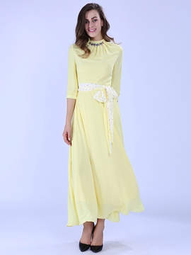 Ericdress Soild Color OL Style Ankle-Length Maxi Dress