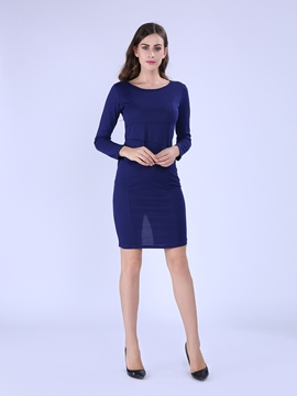 Ericdress Plain Round Neck Pleated Bodycon Dress
