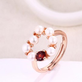 Ericdress Heart Shaped Design Pearls Opening Ring