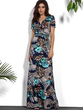 Ericdress European Tropical Print Floor-Length Maxi Dress