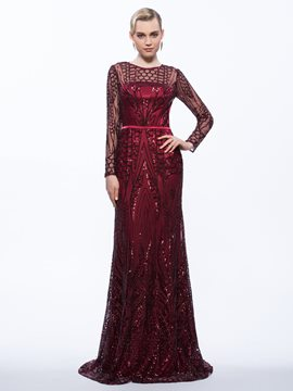 Ericdress Sheath Long Sleeves Sequins Evening Dress