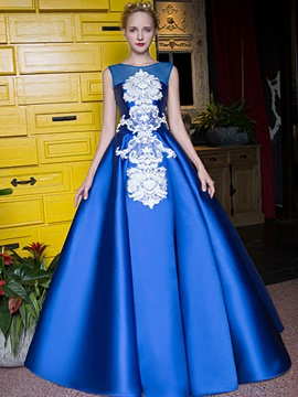 Ericdress A-Line Scoop Appliques Beading Embroidery Long Quinceanera Dress