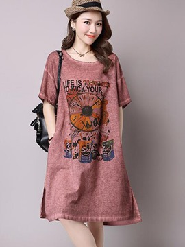 Ericdress Print A-Line Short Sleeve Loose Casual Dress