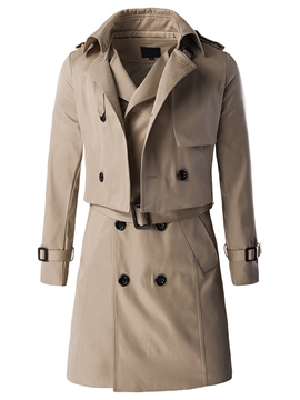 Ericdress Detachable Vogue Double-Breasted Slim Men's Trench Coat