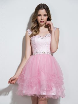 Ericdress Sweetheart A-Line Cap Sleeves Crystal Lace Tiered Mini Cocktail Dress