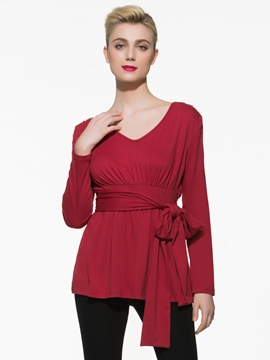 Ericdress Slim Solid Color Bowknot T-Shirt