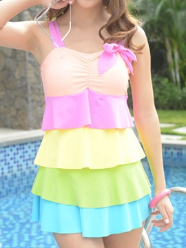 Ericdress Colorful Falbala Patchwork Beach Swimwear