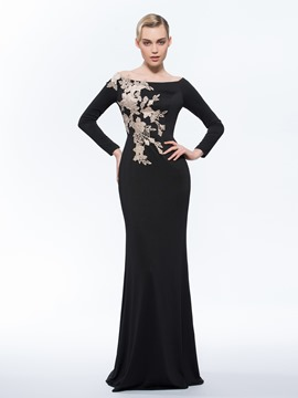Ericdress Long Sleeves Off-the-Shoulder Sheath Appliques Hollow Brush Train Evening Dress