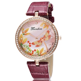 Ericdress Diamante Dragonfly Print Ladies Watch