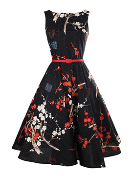 Ericdress Print Round Neck Sleeveless Vintage A Line Dress