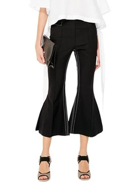 Ericdress Solid Color Falbala Slim Bellbottoms Pants