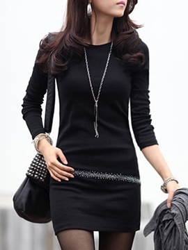 Ericdress Round Collar Bead Appliques Solild Color Bodycon Dress