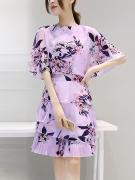 Ericdress Chiffon Print Layered Short Sleeve Casual Dress