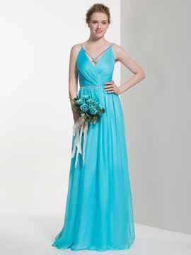 Ericdress Beautiful Spaghetti Straps Beaded Long Bridesmaid Dress