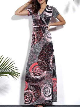 Ericdress European Print Short Sleeve Maxi Dress