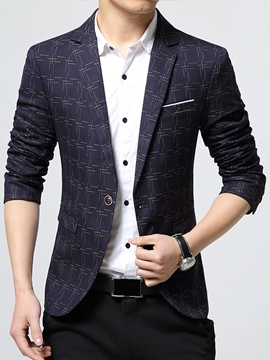 Ericdress Notched Lapel Plaid Classic Vogue Slim Men's Blazer