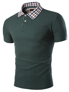 Ericdress Short Sleeve Plaid Collar Slim Men's T-Shirt