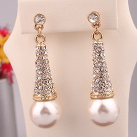 Ericdress Pearl & Rhinestones Inlaid Earrings