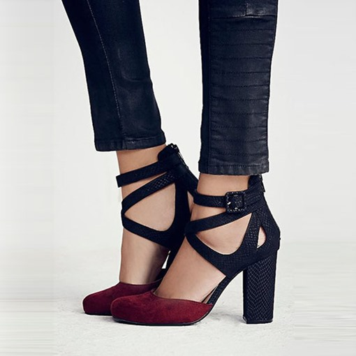 Ericdress Patchwork Cross Straps Buckle Chunky Prom Shoes