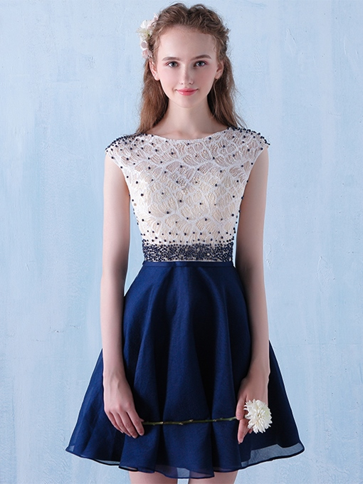 Ericdress A-Line Scoop Beading Lace Short Cocktail Dress