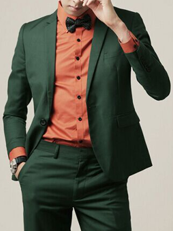 Ericdress Green Plain Slim Fitted Casual Tuxedo Mens Suit