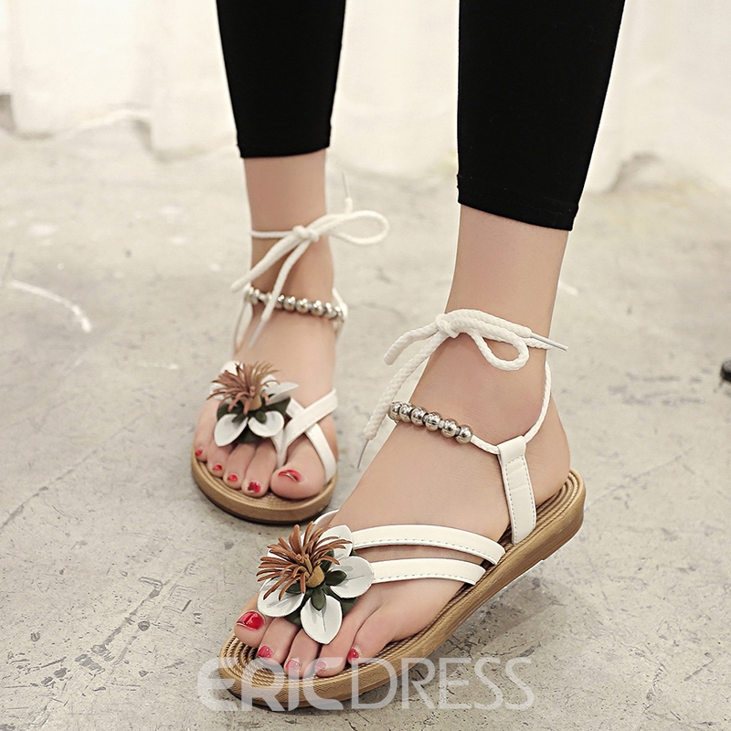 Ericdress Floral Toe Ring Lace-Up Flat Sandals 12185486