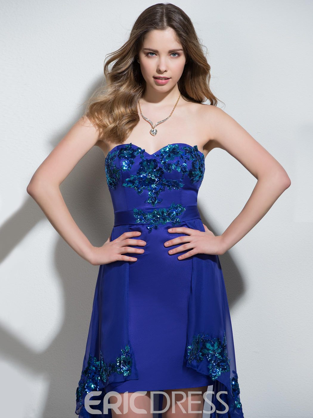 Ericdress Sheath Sweetheart Appliques Sequins Asymmetry Cocktail Dress