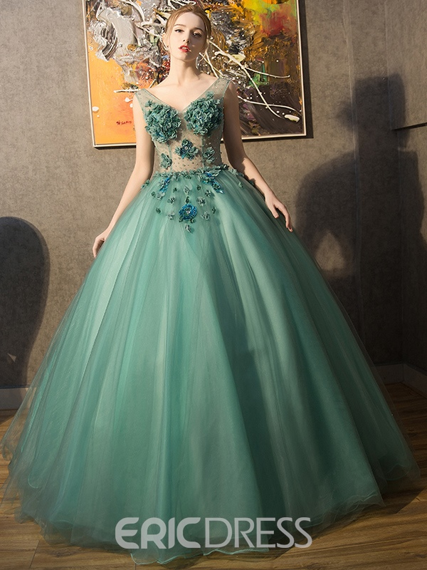 fc288fe3b37 Ericdress V-Neck Ball Gown Flowers Floor-Length Quinceanera Dress(12195013)
