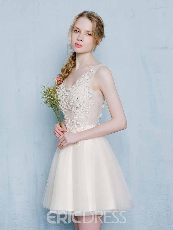 Ericdress A-Line V-Neck Lace Short Homecoming Dress With Flowers And Beading