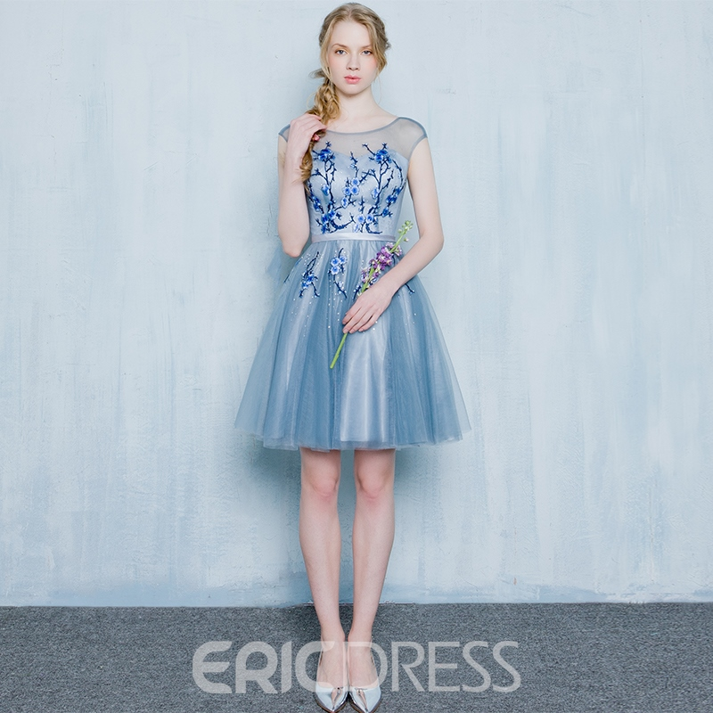 Ericdress a-ligne Scoop broderie court Homecoming robe