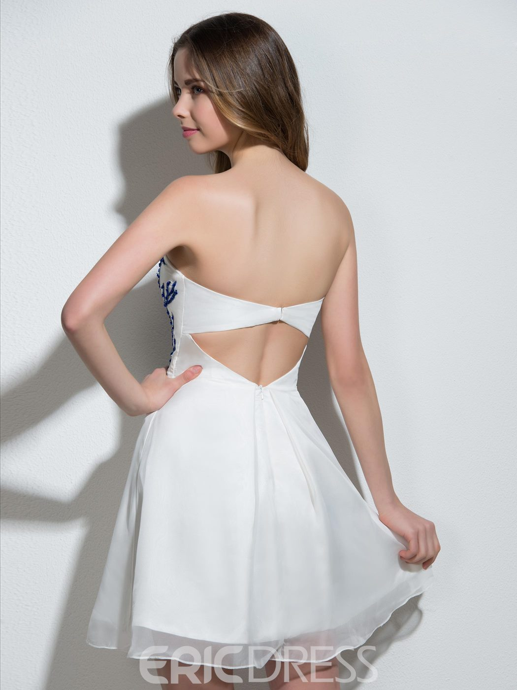 Ericdress Strapless A-Line Appliques Beading Mini Cocktail Dress