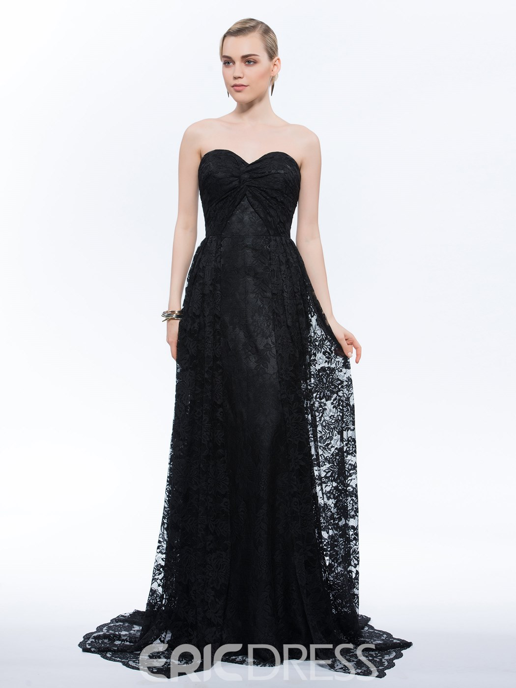 Ericdress A-Line Sweetheart Lace Ruched Evening Dress