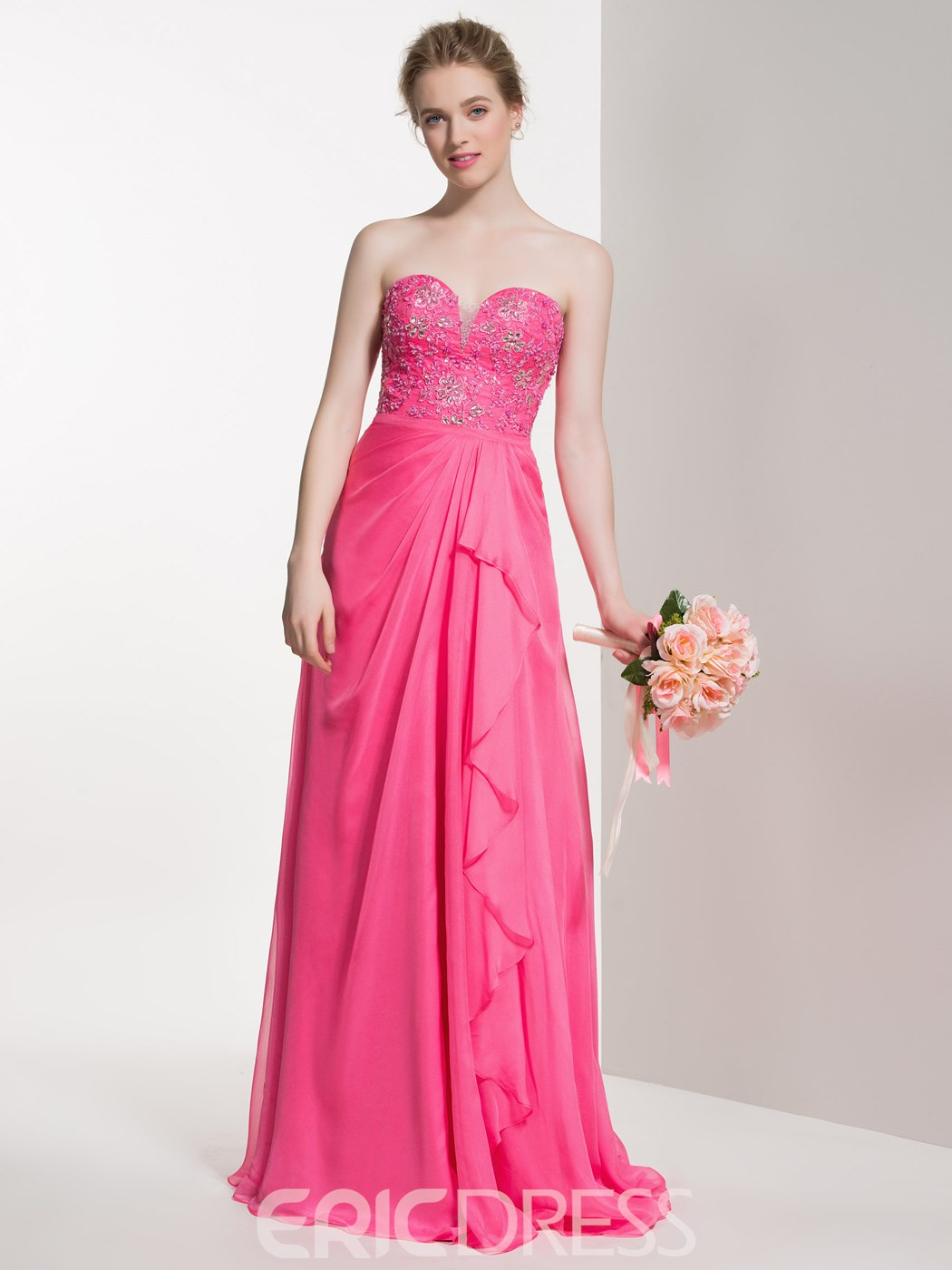 Ericdress Beautiful Beaded Sweetheart A Line Long Bridesmaid Dress