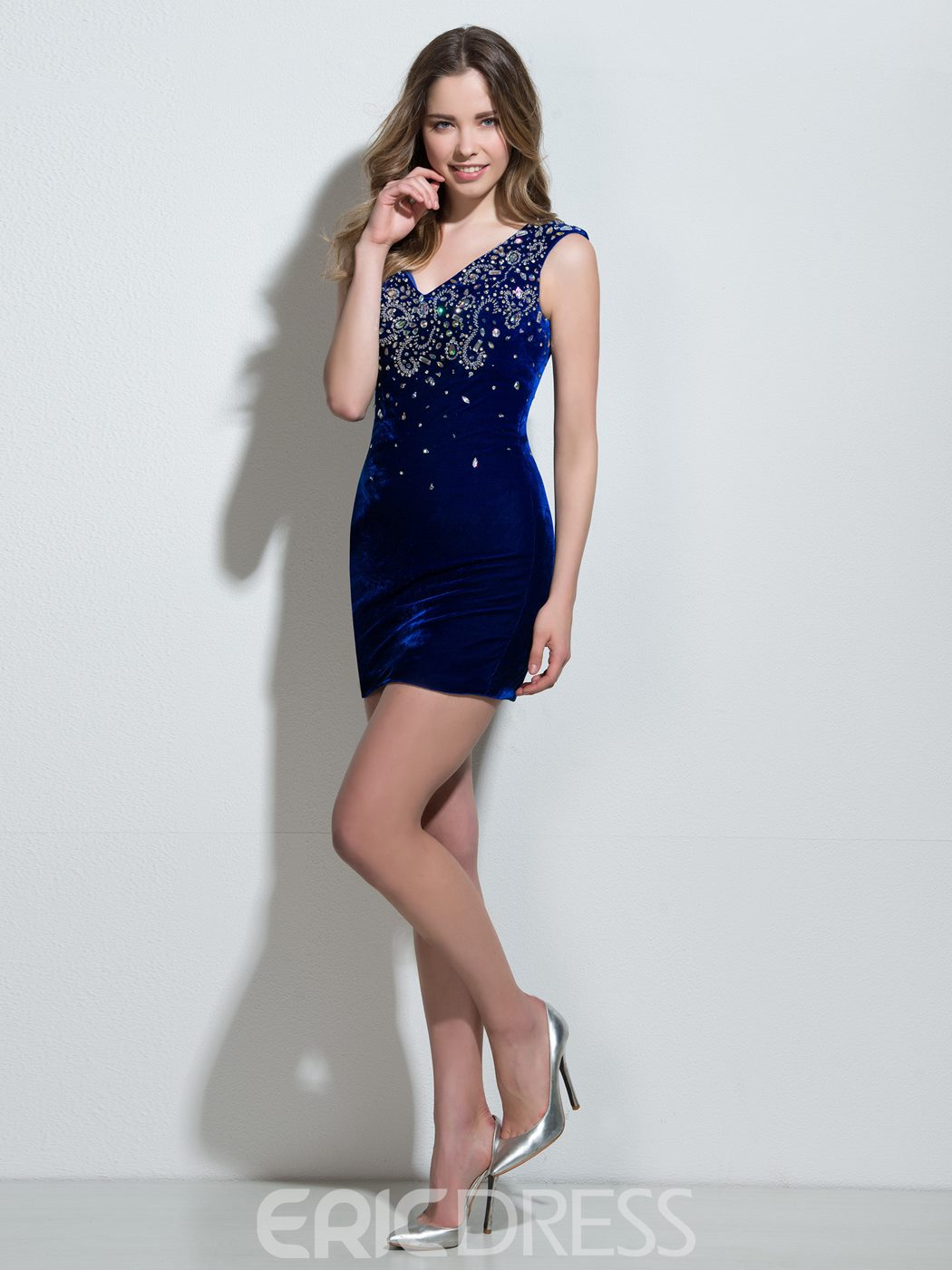Ericdress gaine col en v perles robe de Cocktail courte de cristal