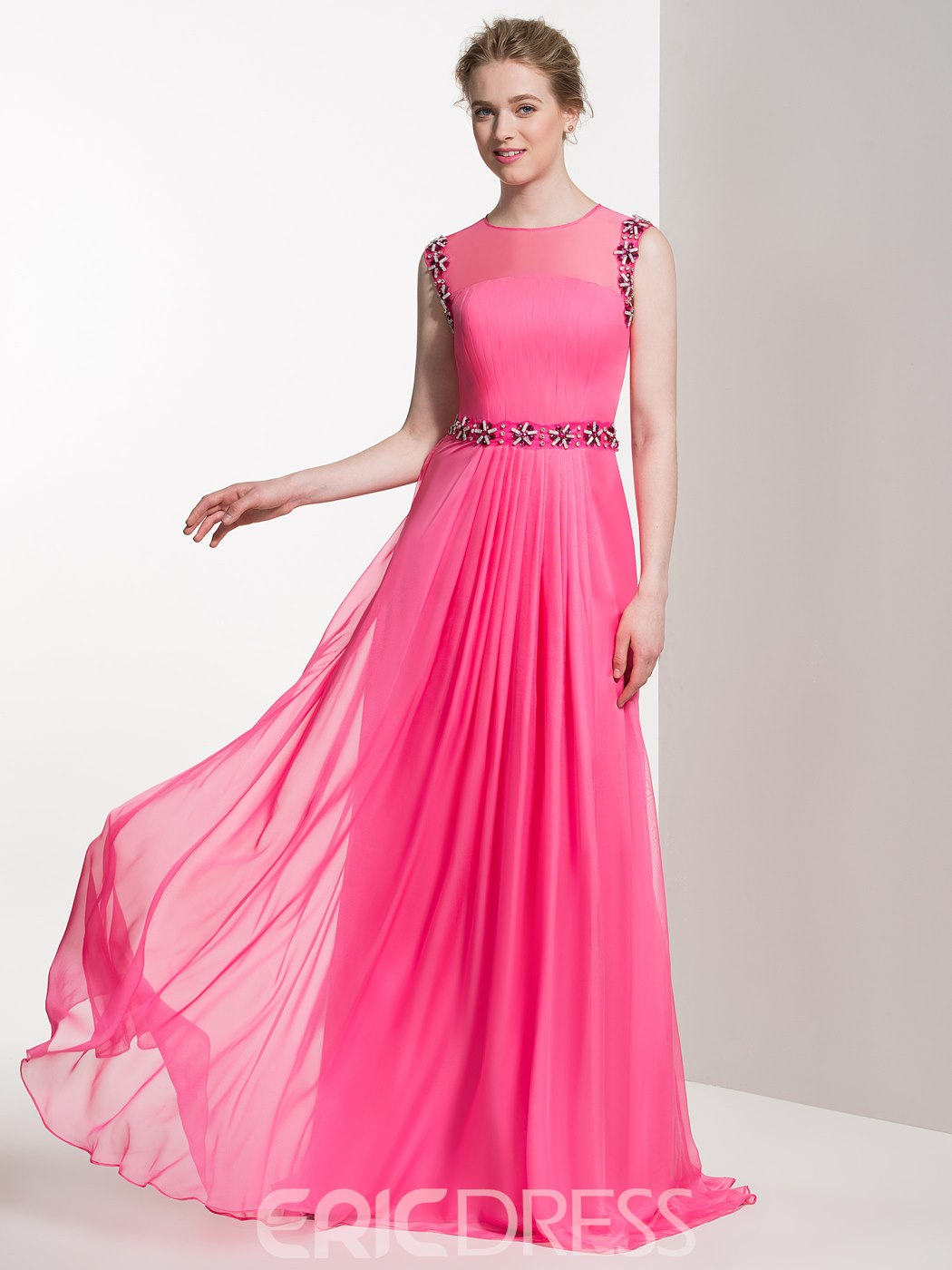 Ericdress Beautiful Beaded Jewel A Line Long Bridesmaid Dress