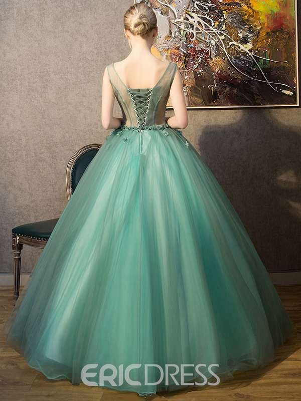 Ericdress V-Neck Ball Gown Flowers Floor-Length Quinceanera Dress