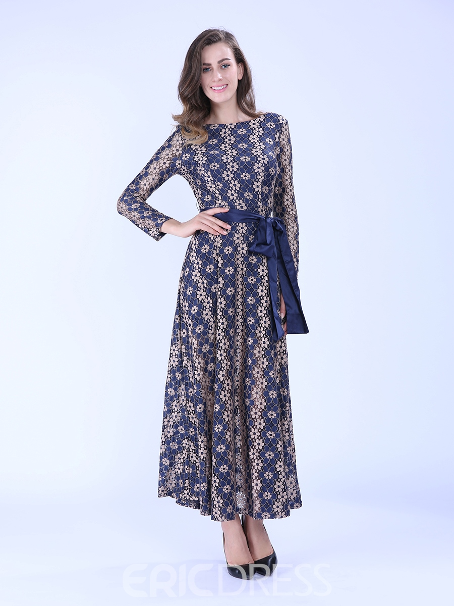 055521000a Ericdress Long Sleeve Ankle-Length Print Maxi Dress 12190079 ...