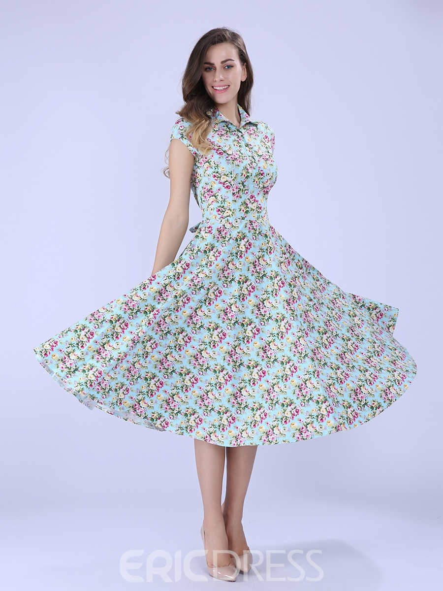 Ericdress Light Blue Floral A Line Dress