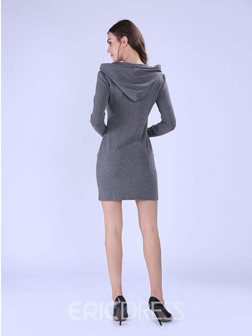 Ericdress Hooded Knee-Length Bodycon Dress