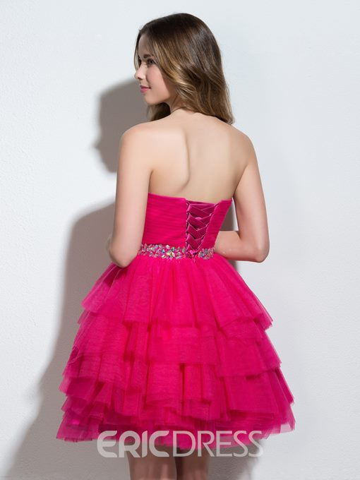 Ericdress Sweetheart A-Line Beading Pleats Tiered Cocktail Dress