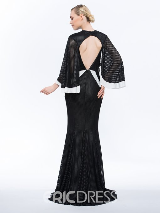 Ericdress Long Sleeves Ruffles Mermaid Evening Dress With Sweep Train